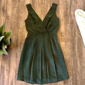 J CREW Silk Suede Forest Green Pleated Mini Dress